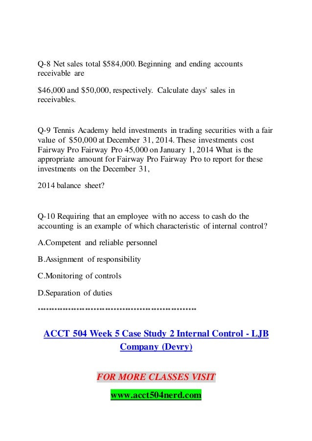 case study 2 internal control system