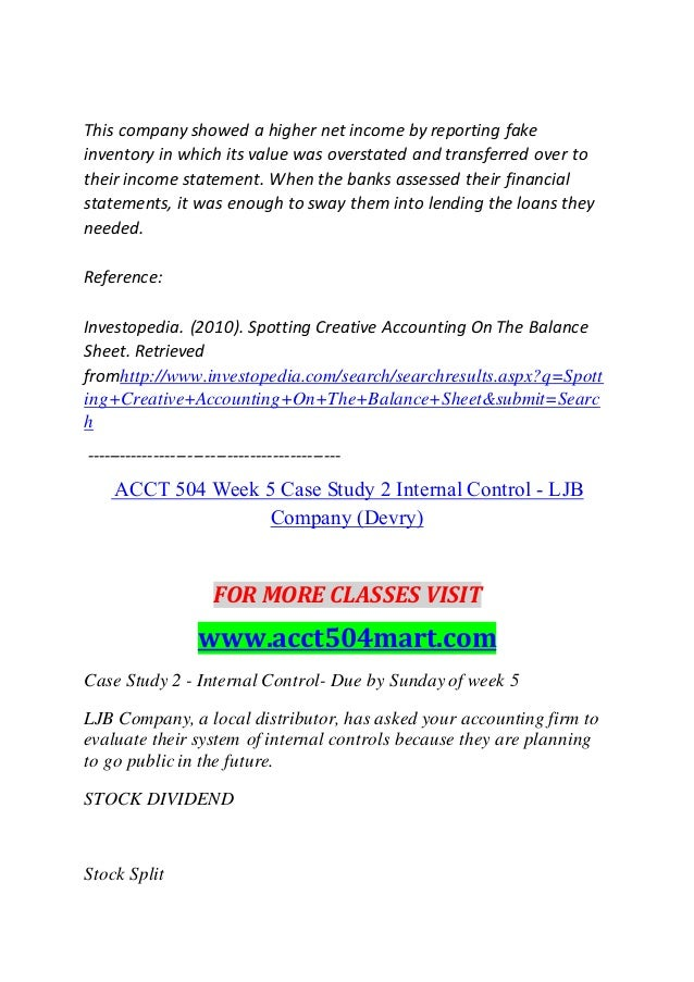 ljb internal controls View and download internal control essays examples an adequate internal control system ljb is a small company internal controls.