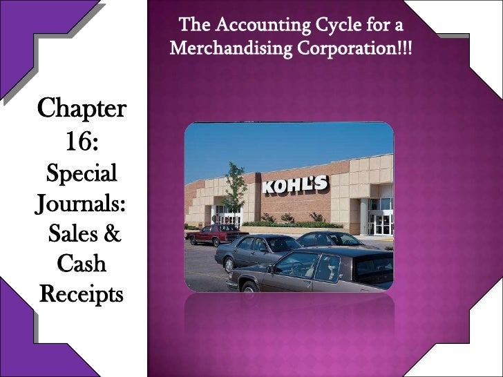 The Accounting Cycle for a            Merchandising Corporation!!!Chapter  16: SpecialJournals: Sales &  CashReceipts