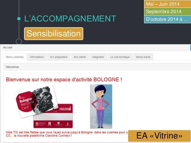 L'ACCOMPAGNEMENT Mai – Juin 2014 Septembre 2014 D'octobre 2014 à … Sensibilisation AS Saint-Etienne !!!