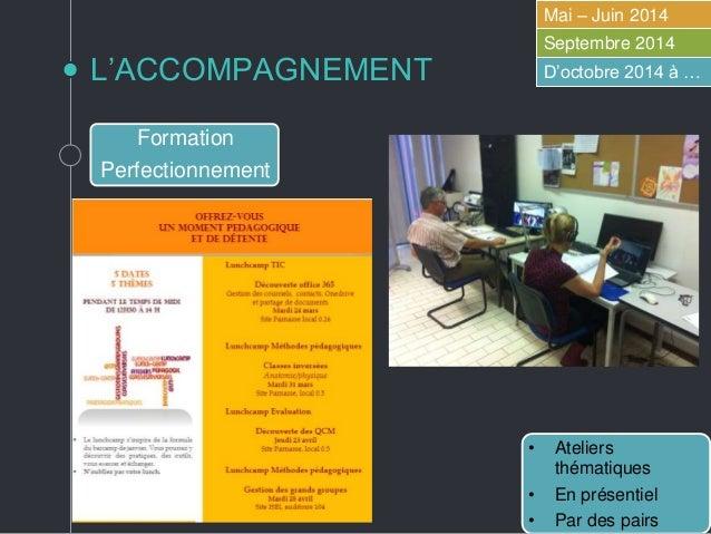 L'ACCOMPAGNEMENT Mai – Juin 2014 Septembre 2014 D'octobre 2014 à … Formation Perfectionnement Accompagnement à la demande