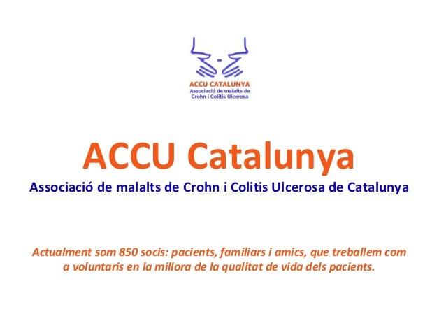 ACCU Catalunya Associació de malalts de Crohn i Colitis Ulcerosa de Catalunya Actualment som 850 socis: pacients, familiar...