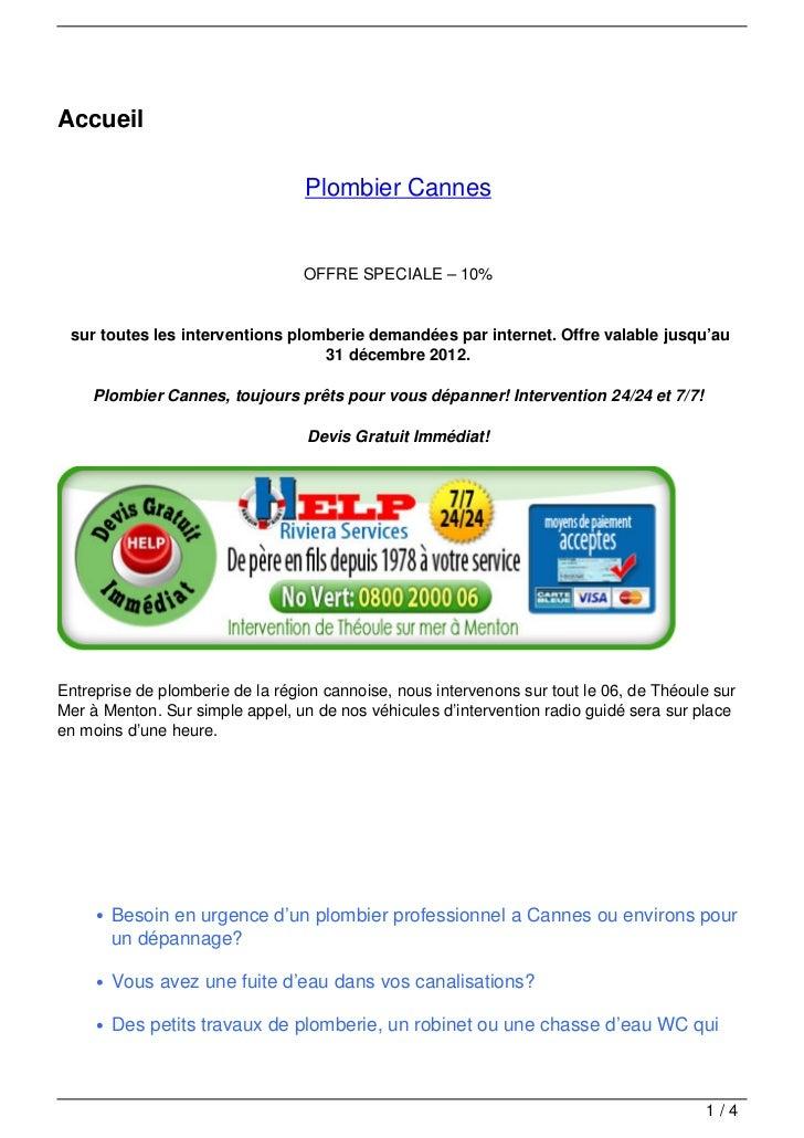 Accueil                                  Plombier Cannes                                  OFFRE SPECIALE – 10% sur toutes ...