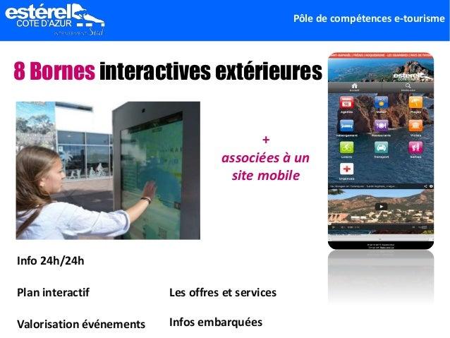 Pôle de compétences e-tourisme 8 Bornes interactives extérieures Plan interactif Valorisation événements Info 24h/24h Les ...