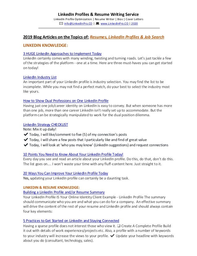 2019 Blog Articles On The Topics Of Resumes Linkedin Profiles Job