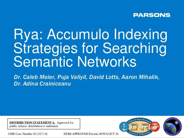 Rya: Accumulo Indexing Strategies for Searching Semantic Networks Rya: Accumulo Indexing Strategies for Searching Semantic...
