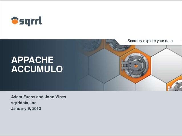 Securely explore your data  APPACHE ACCUMULO Adam Fuchs and John Vines sqrrldata, inc. January 9, 2013