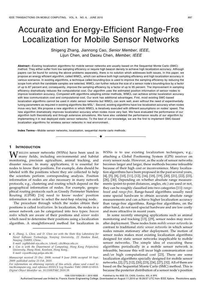 IEEE TRANSACTIONS ON MOBILE COMPUTING,             VOL. 9,   NO. 6,   JUNE 2010                                           ...