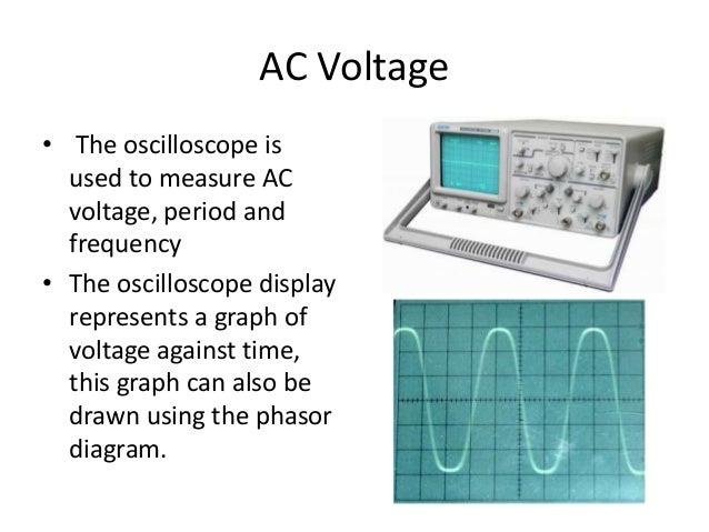 AC Voltage  • The oscilloscope is  used to measure AC  voltage, period and  frequency  • The oscilloscope display  represe...