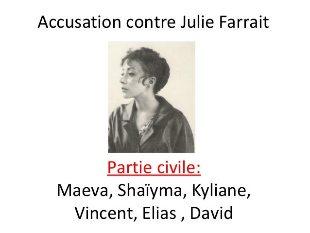 Accusation contre Julie Farrait  Partie civile: Maeva, Shaïyma, Kyliane, Vincent, Elias , David
