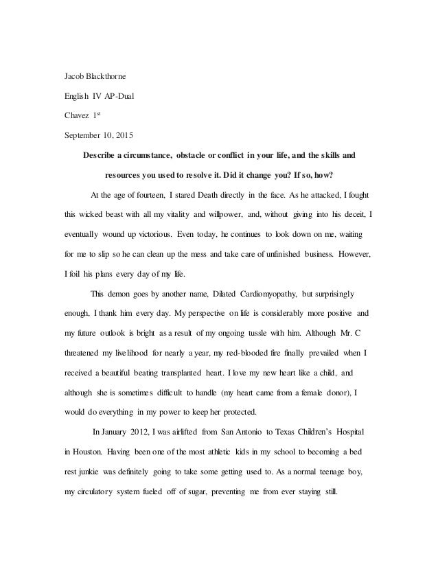 ut essay revised jacob blackthorne english iv ap dual chavez 1st 10 2015 describe a circumstance