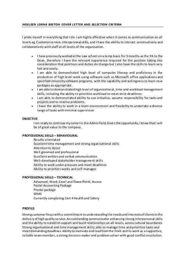 Noeleen lorna beeton cover letter and selection criteria for Addressing selection criteria in cover letter