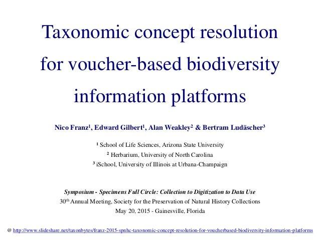 Taxonomic concept resolution for voucher-based biodiversity information platforms Nico Franz1, Edward Gilbert1, Alan Weakl...