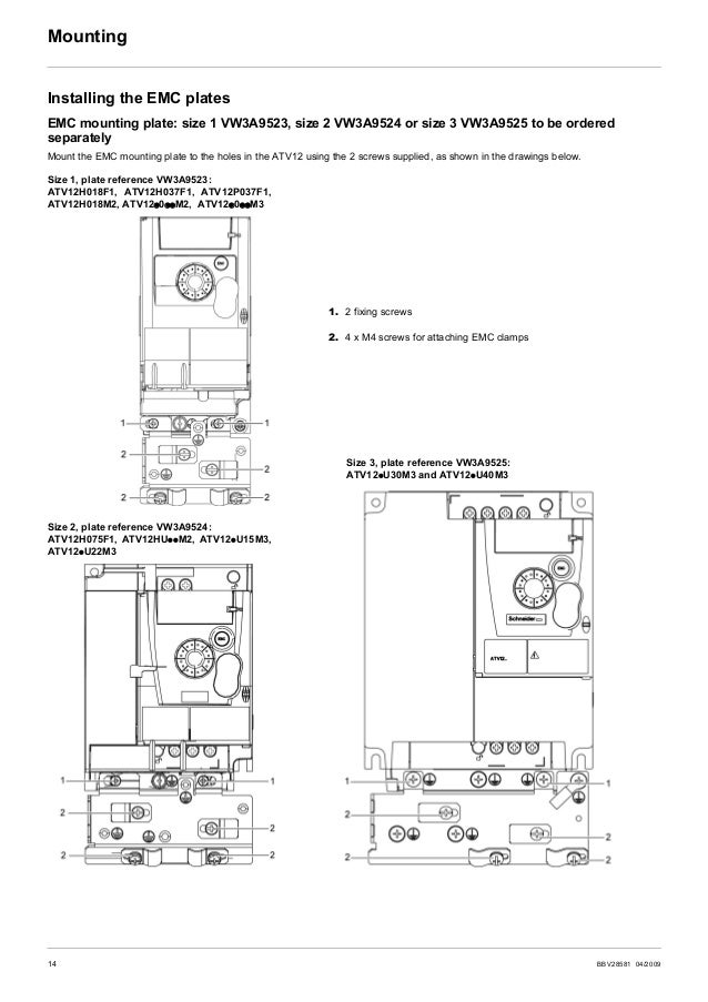 BBV28581 04/2009 15 Wiring Recommendations Keep the power cables separate from control circuits with low-level signals (de...