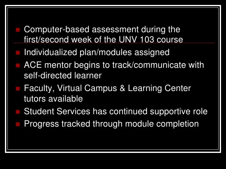 modules of unv 103 Submit the assignment to the instructor by the end of module 2 part i – use angel (gcu learning management system [lms]) to complete the following: 1 after you log into your unv 103 course in angel, find the student success center link in the light purple band at the top of the screen click on this link.