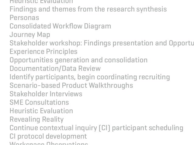 Heuristic Evaluation Findings and themes from the research synthesis Personas Consolidated Workflow Diagram Journey Map Sta...