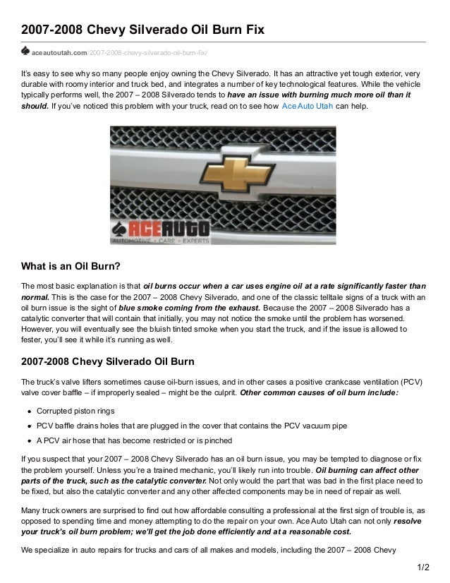 2007-2008 Chevy Silverado Oil Burn Fix aceautoutah.com/2007-2008-chevy-silverado-oil-burn-fix/ It's easy to see why so man...