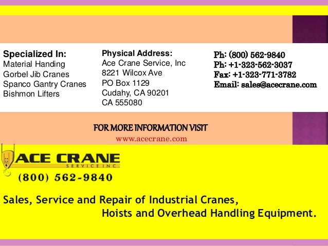 Jib cranes and gantry cranes by ace crane for Ace motor sales inc