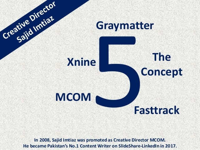 MCOM Fasttrack The Concept Xnine Graymatter In 2008, Sajid Imtiaz was promoted as Creative Director MCOM. He became Pakist...