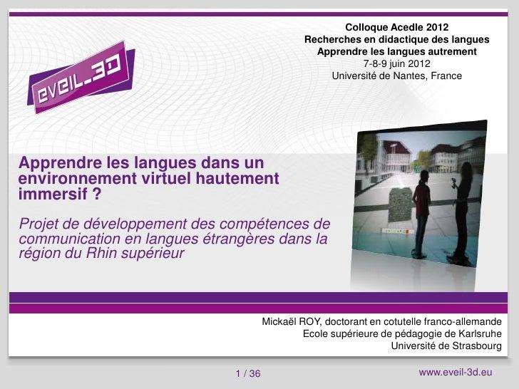 Colloque Acedle 2012                                                   Recherches en didactique des langues               ...