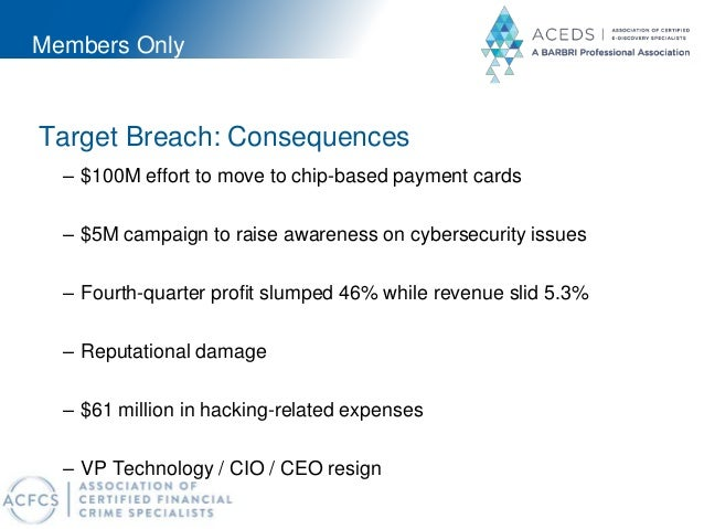 Members Only Target Breach: Consequences – $100M effort to move to chip-based payment cards – $5M campaign to raise awaren...