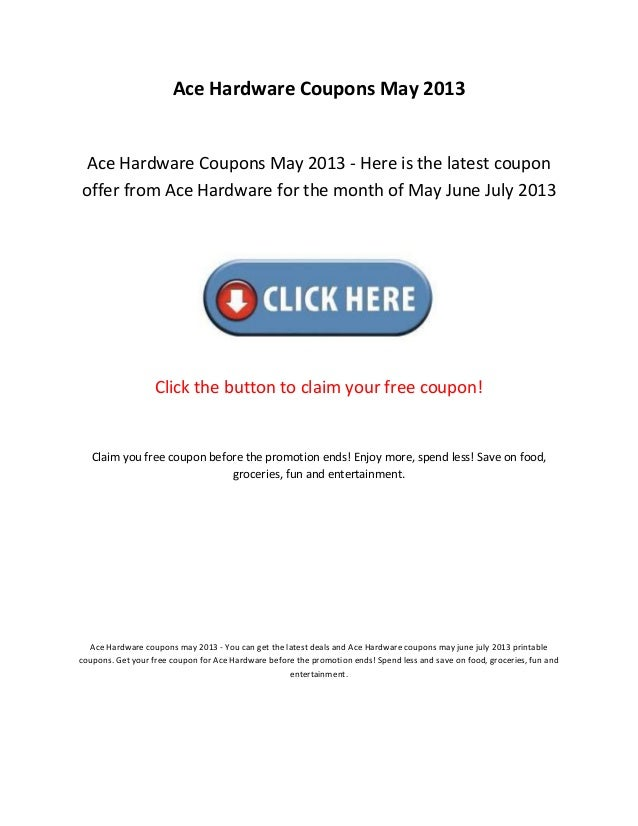 picture about Ace Hardware Printable Coupon identified as Ace components discount codes may possibly 2013