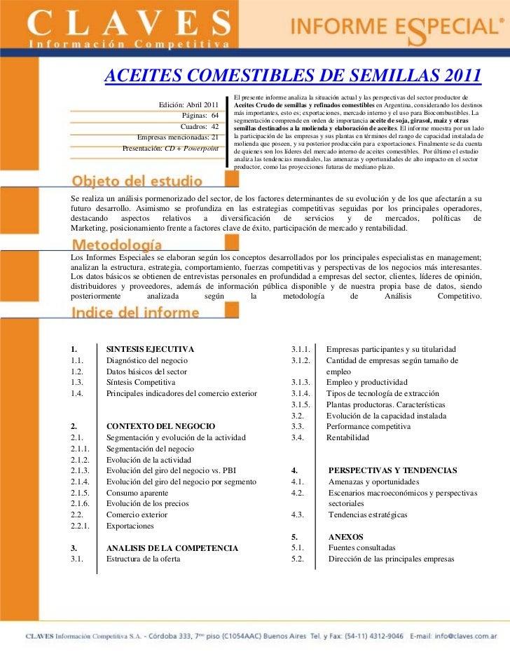 ACEITES COMESTIBLES DE SEMILLAS 2011                                                 El presente informe analiza la situac...