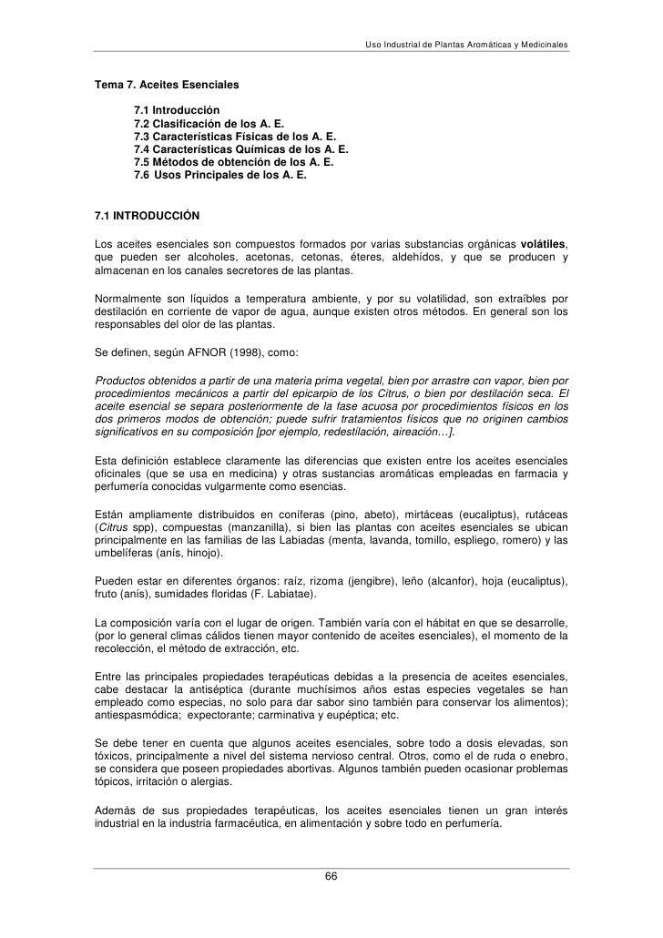 Uso Industrial de Plantas Aromáticas y MedicinalesTema 7. Aceites Esenciales       7.1 Introducción       7.2 Clasificació...
