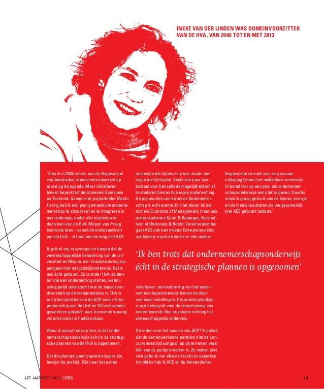 Ineke van der Linden was Domeinvoorzitter van de HvA, van 2006 tot en met 2013  'Toen ik in 2006 startte aan de Hogeschool...