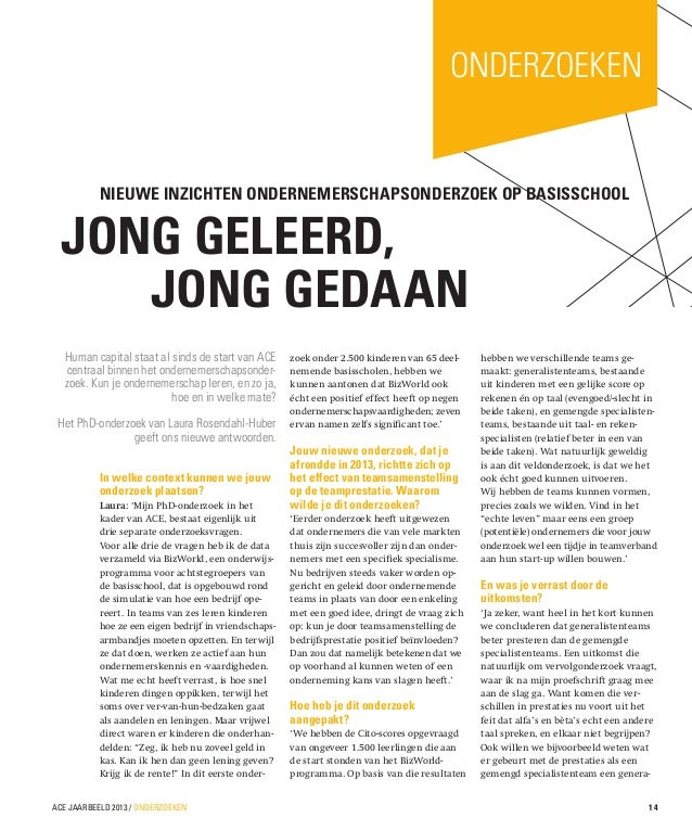 onderzoeken  Nieuwe inzichten ondernemerschapsonderzoek op basisschool  JONG GELEERD,  JONG GEDAAN Human capital staat al...