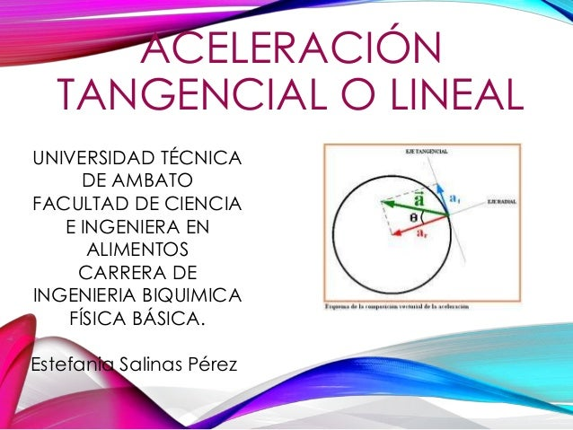 "ACELERACIÓN TANGENCIAL O LINEAL Primero BQ ""B"" UNIVERSIDAD TÉCNICA DE AMBATO FACULTAD DE CIENCIA E INGENIERA EN ALIMENTOS ..."
