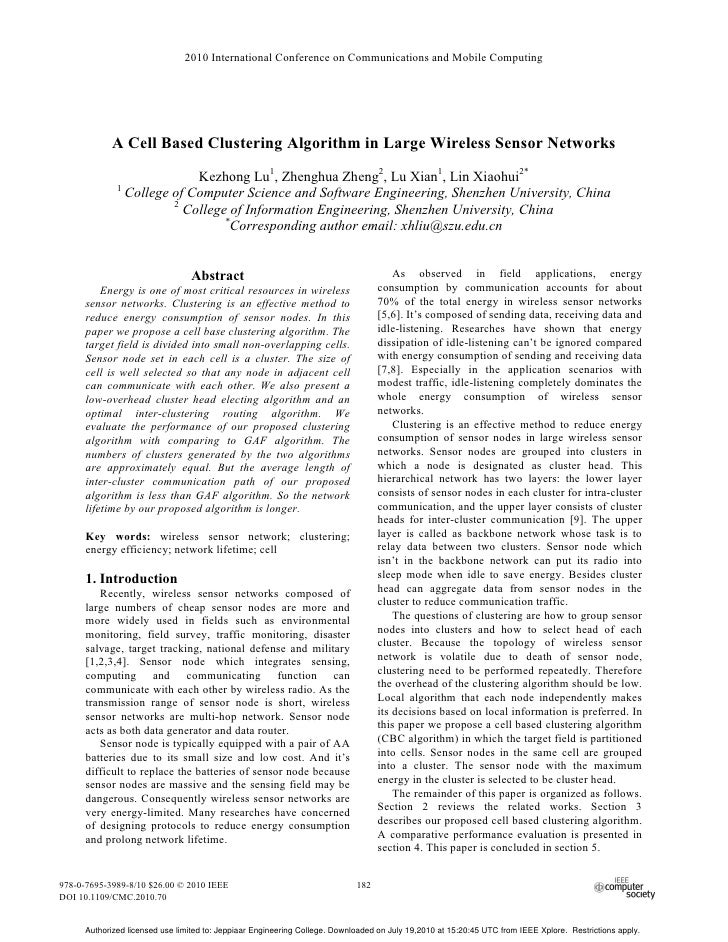 2010 International Conference on Communications and Mobile Computing            A Cell Based Clustering Algorithm in Large...
