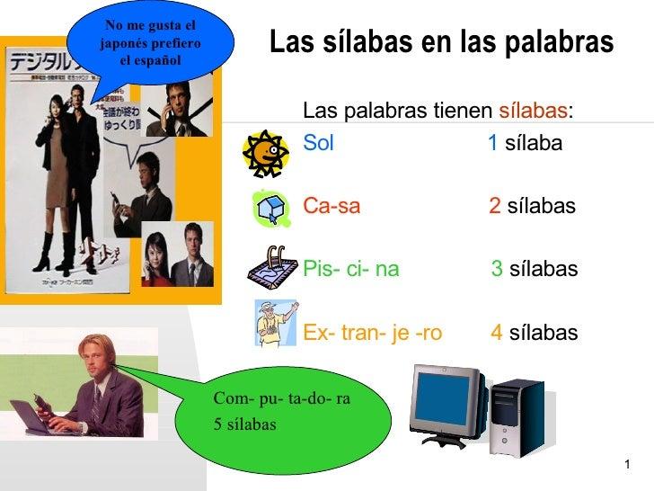 No me gusta eljaponés prefiero   el español                          Las sílabas en las palabras                          ...