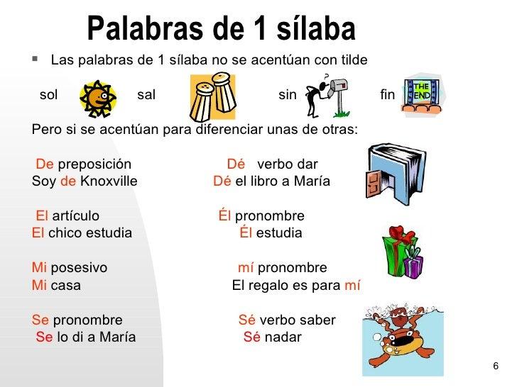 Palabras de 1 sílaba    Las palabras de 1 sílaba no se acentúan con tilde    sol            sal                  sin     ...