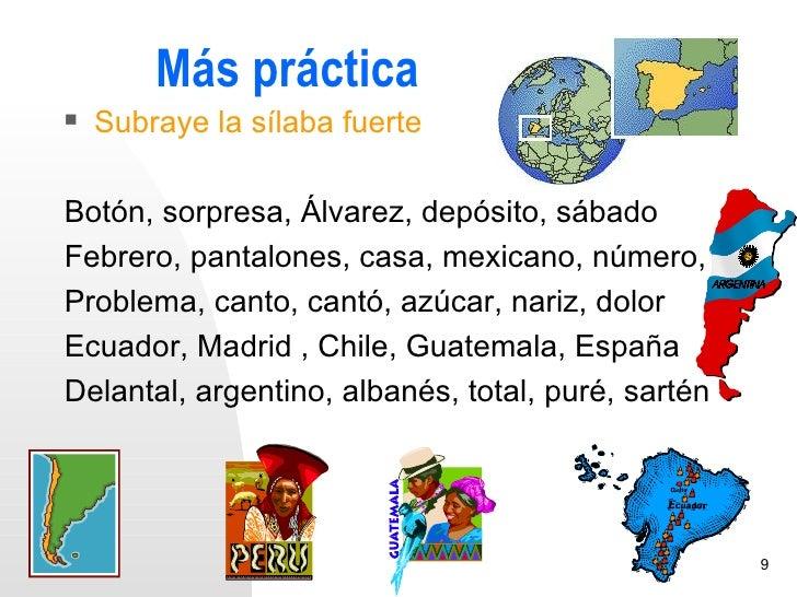 Más práctica   Subraye la sílaba fuerteBotón, sorpresa, Álvarez, depósito, sábadoFebrero, pantalones, casa, mexicano, núm...