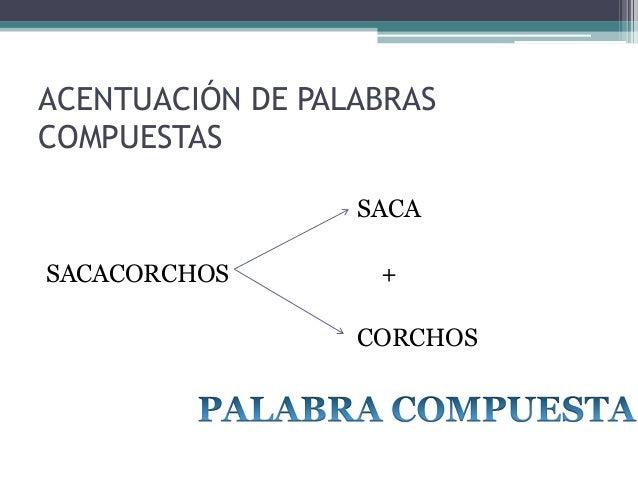 ACENTUACIÓN DE PALABRAS COMPUESTAS SACA  SACACORCHOS  + CORCHOS