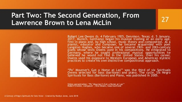 Part Two: The Second Generation, From Lawrence Brown to Lena McLin Robert Lee Owens (b. 4 February 1925, Dennison, Texas; ...