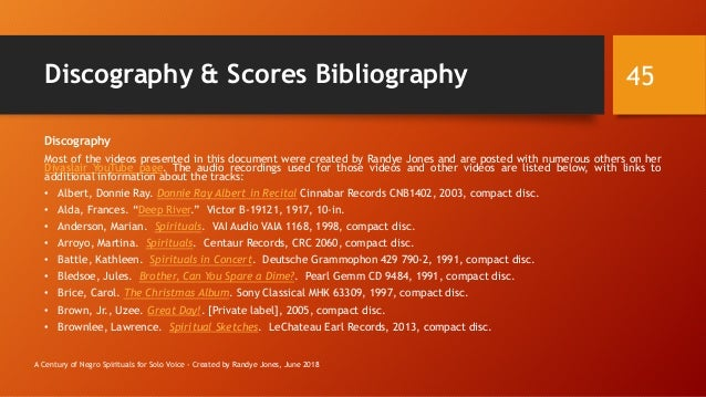 Discography & Scores Bibliography Discography Most of the videos presented in this document were created by Randye Jones a...