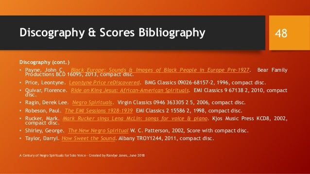 Discography & Scores Bibliography Discography (cont.) • Payne, John C. Black Europe: Sounds & Images of Black People in Eu...