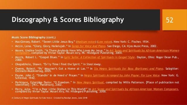 "Discography & Scores Bibliography Music Score Bibliography (cont.) • MacGimsey, Robert. ""Sweet Little Jesus Boy,"" (Medium ..."