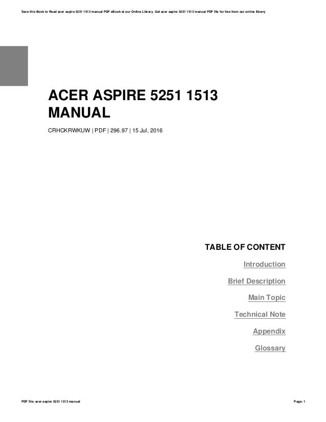 acer aspire 5251 1513 manual rh slideshare net Acer Aspire 5251 Laptop Acer Aspire 5251 Drivers