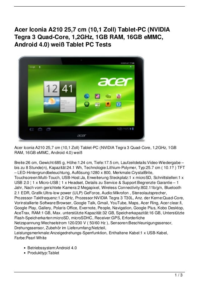 Acer Iconia A210 25,7 cm (10,1 Zoll) Tablet-PC (NVIDIATegra 3 Quad-Core, 1,2GHz, 1GB RAM, 16GB eMMC,Android 4.0) weiß Tabl...