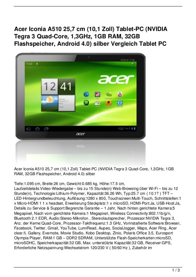 Acer Iconia A510 25,7 cm (10,1 Zoll) Tablet-PC (NVIDIATegra 3 Quad-Core, 1,3GHz, 1GB RAM, 32GBFlashspeicher, Android 4.0) ...