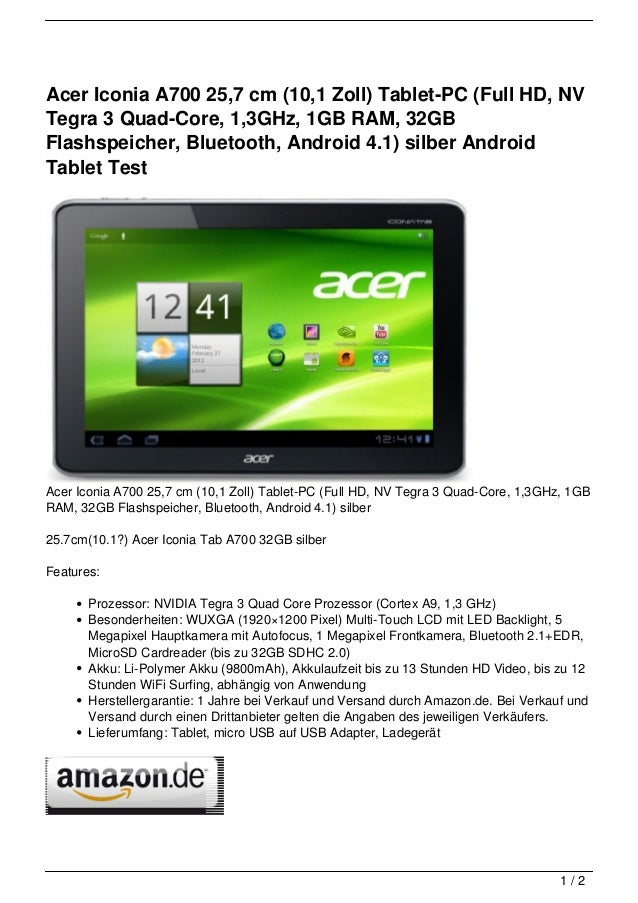 acer iconia a700 25 7 cm 10 1 zoll tablet pc full hd. Black Bedroom Furniture Sets. Home Design Ideas