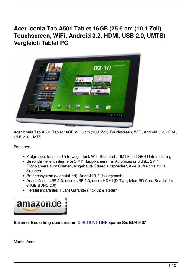 acer iconia tab a501 tablet 16gb 25 6 cm 10 1 zoll. Black Bedroom Furniture Sets. Home Design Ideas