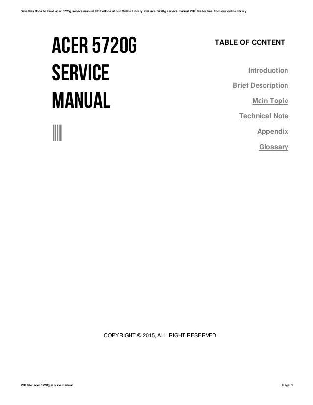 acer 5720g service manual rh slideshare net acer aspire 5720 service manual Acer User Guides and Manuals