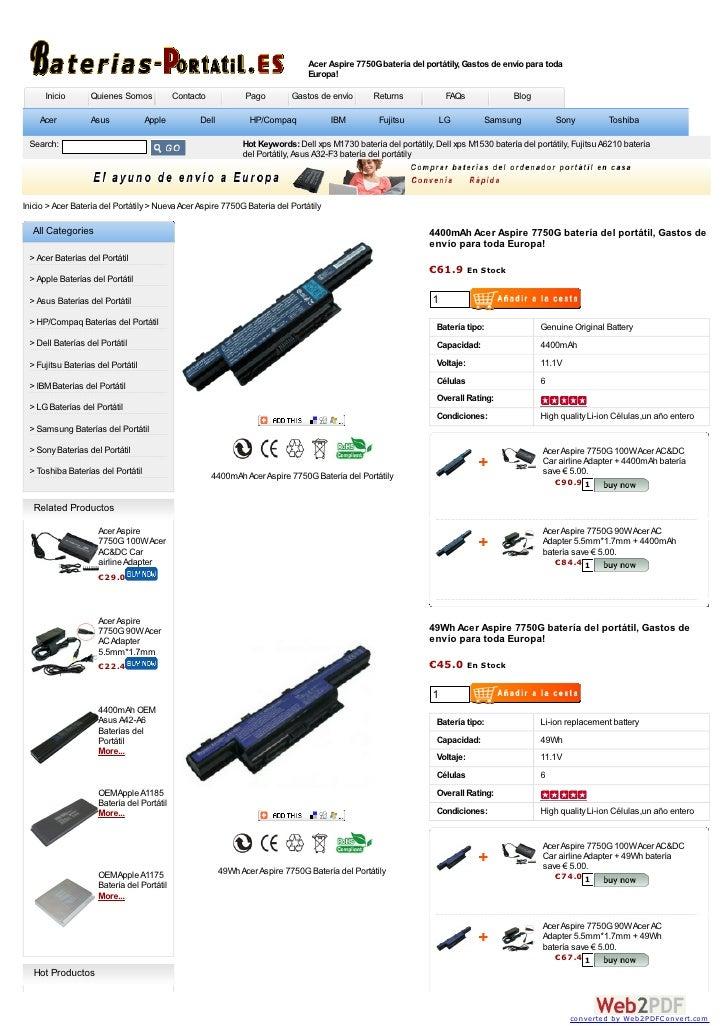 Acer Aspire 7750G batería del portátily, Gastos de envío para toda                                                        ...