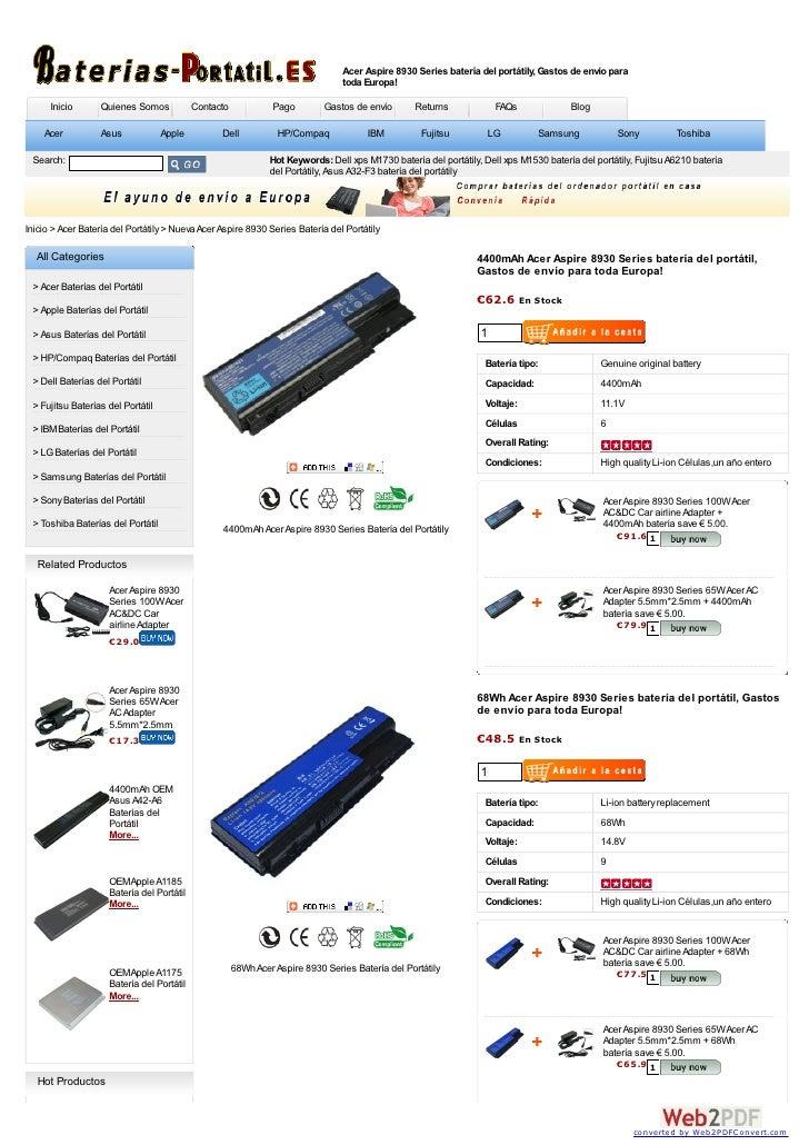Acer Aspire 8930 Series batería del portátily, Gastos de envío para                                                       ...