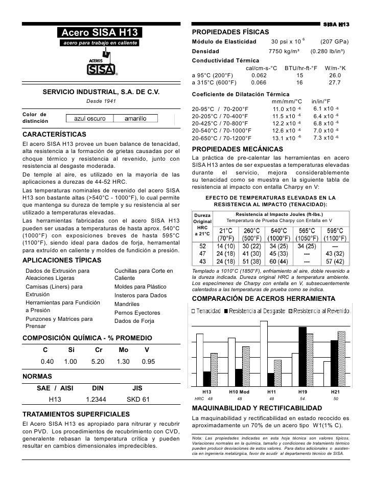 SISA H13                   Acero SISA H13                                PROPIEDADES FÍSICAS                   acero para ...