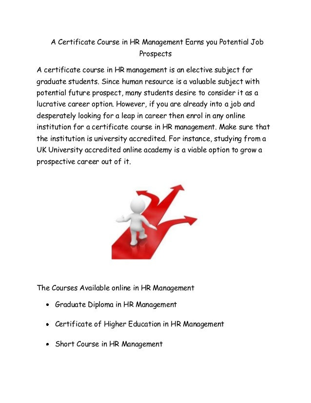A Certificate Course In Hr Management Earns You Potential Job Prospec